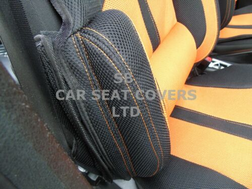 BO-1 orange Sport Netz I Autositzbezüge passend für NISSAN e-NV200 Kombi