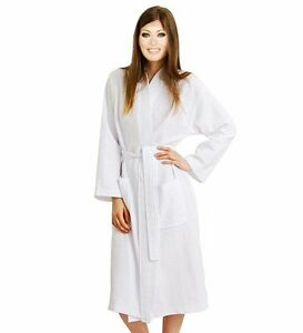 89a8e73412 Lightweight Women s Waffle Kimono Long Bathrobe Below the Knee Spa ...
