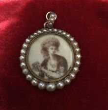 ANTIQUE GEORGIAN 14ct GOLD HAND-PAINTED MINIATURE SEED PEARLS MOURNING LOCKET