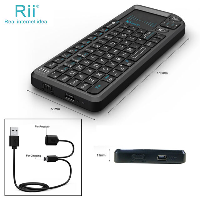 Hot Rii Mini X1 2 4G Wireless Mini Keyboard with Touchpad for PC Smart TV