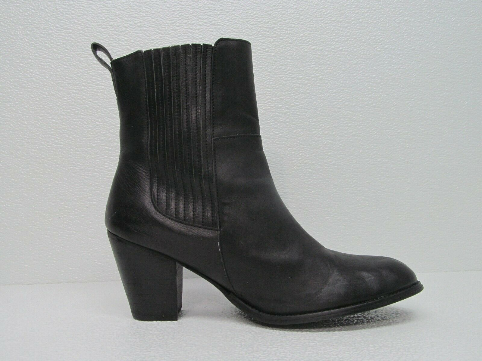 H&M Black Leather Heeled Chelsea Bootie Size Women's 9.5M