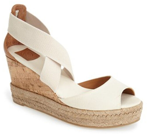 64c0ffd73f3f0a Tory Burch PEEP Toe Ivory Canvas Platform Cork Wedge Sandal Shoes Size 7  for sale online