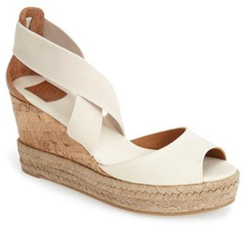 0785675f1e NIB TORY BURCH Peep Toe Ivory Canvas Platform Cork Wedge Sandal Shoes Size  7 NEW