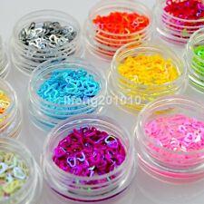 12 Colors 3D Nail Sequins Nail Art Decoration Tools Heart Shape Hollow Design