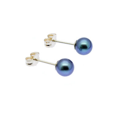 Black Pearl Earrings AAA 9ct Gold Stud 5mm Round Cultured Freshwater Pearls
