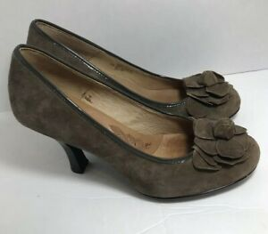 SOFFT-Women-039-s-Brown-Suede-Leather-Flower-Pump-Heel-Shoes-Size-8-5