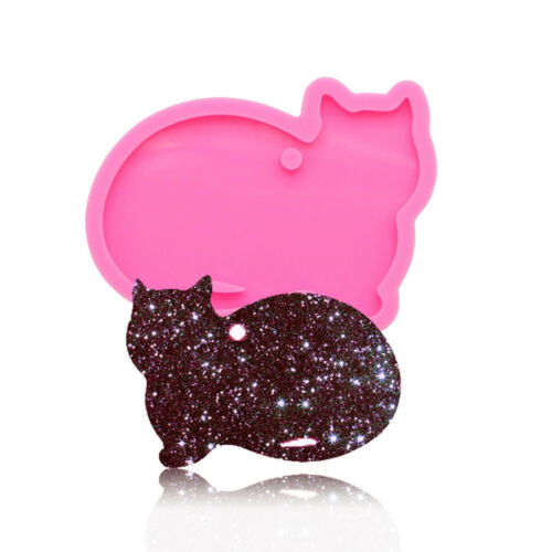 DIY Glitter Epoxy Resin Jewelry Making Mould Cat keychains Pendant Silicone Mold