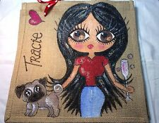 Personalised Handpainted Jute Celebrity Handbag Hand Bag - With Fawn Pug & Jeans