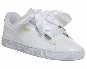 Details About Puma Trainers Womens Heart Shoes Basket Patent White ynO80mvNw