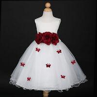 Ivory/Burgundy Wine Holiday Wedding Flower Girl Dress 6M 12M 18M 2 3/4 5/6 8 10