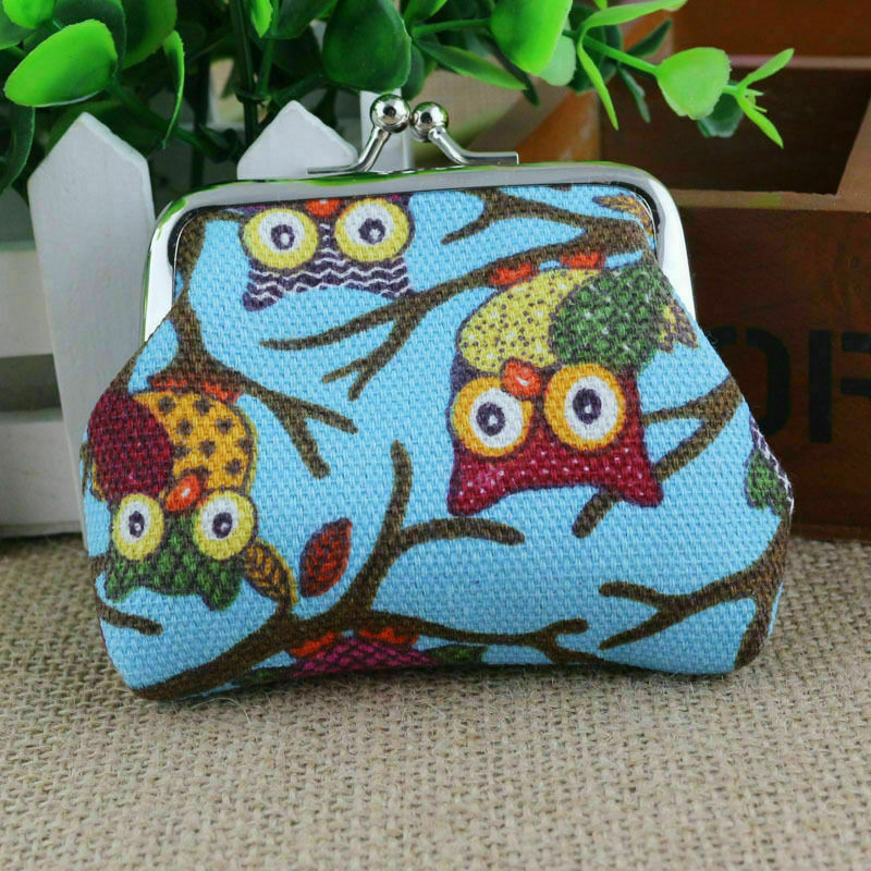 Owl Canvas Mini Coin Wallet Purse with a Hasp