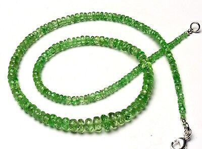 "Natural Gem Tsavorite 3-5MM Size rough Unpolished Rondelle Beads Necklace 17.5/"""