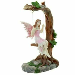 Pink Flower Fairy on Swing Decorative Figurine Ornament 15 Cm High