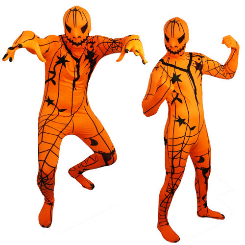 full body adult pumpkin jack o lantern lycra zentai suit halloween party costume xx small ebay