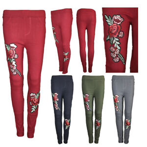 Womens High Waist Stretchy Skinny Fit Flower Floral Rose Embroidered Trousers