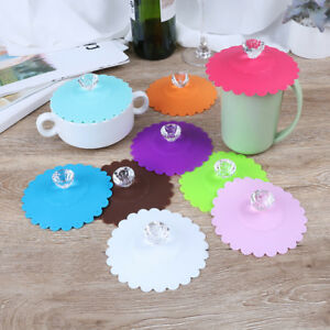 silicone anti-dust glass diamond cup cover coffee mug suction seal lid cap SL