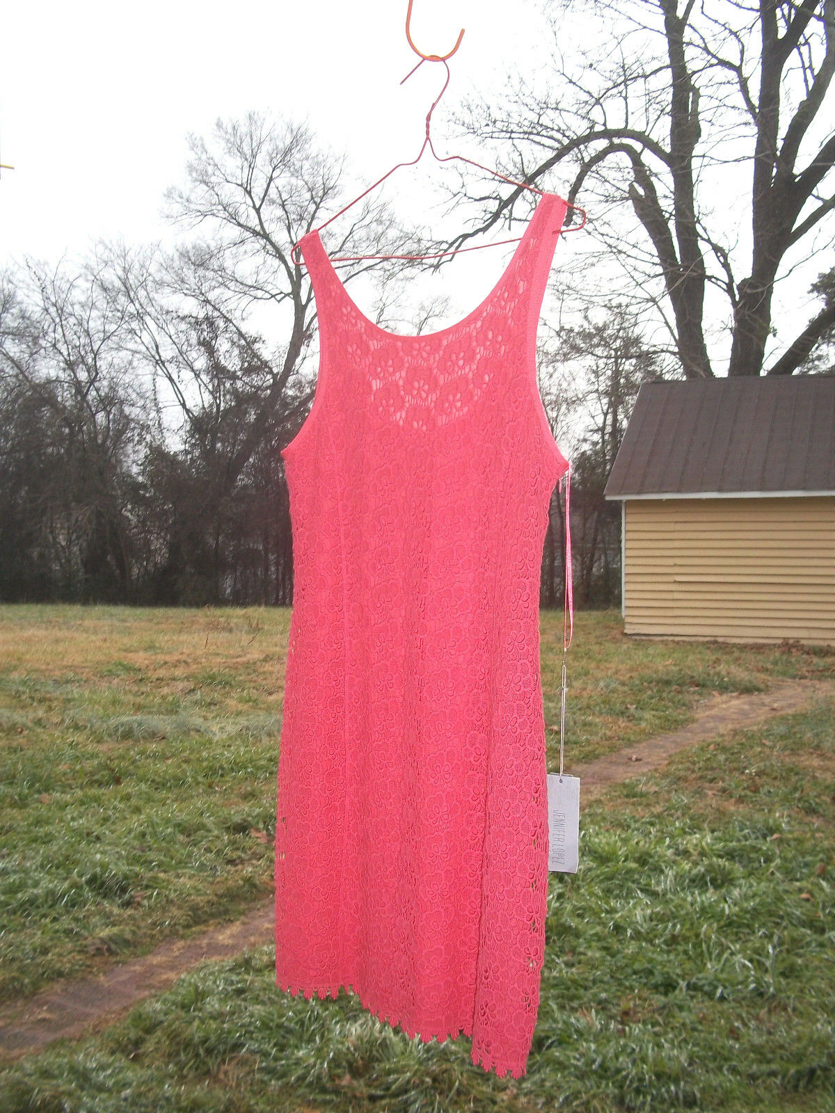 Dress JLO JLO JLO Jennifer Lopez 10 miami sunset beach PINK lace cotton w tags  70 KOHLS 2e1188