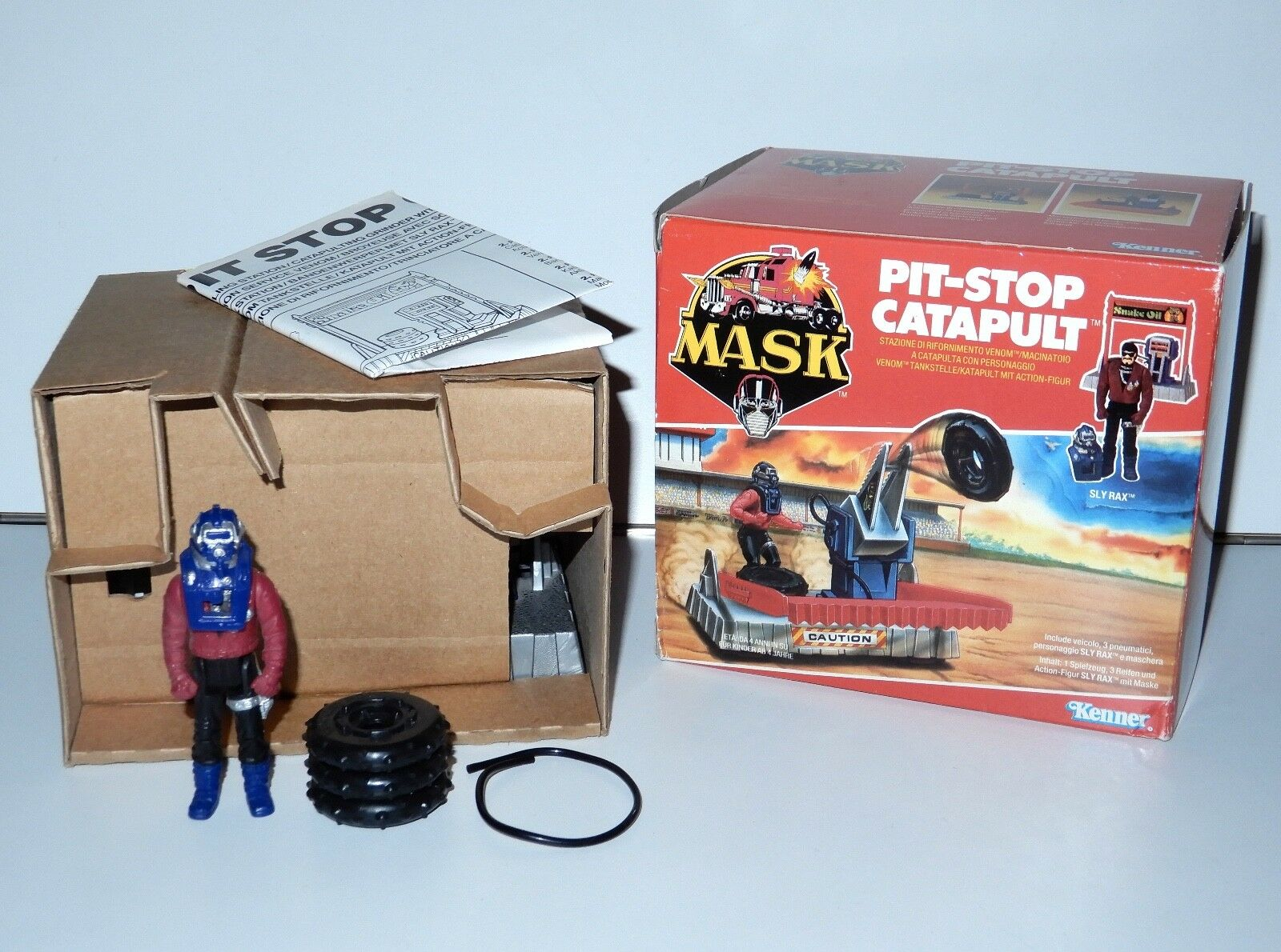 M.A.S.K PIT STOP CATAPULT w  SLY RAX 100% COMPLETE MIB EURO BOX KENNER