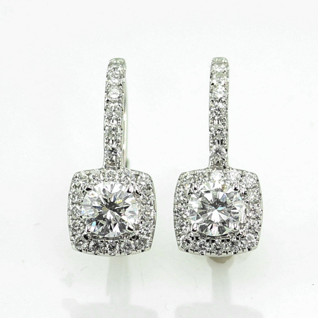2.40 CT. SI1 - G DIAMOND HALO DESIGN EURO WIRE EARRINGS 14K WHITE gold