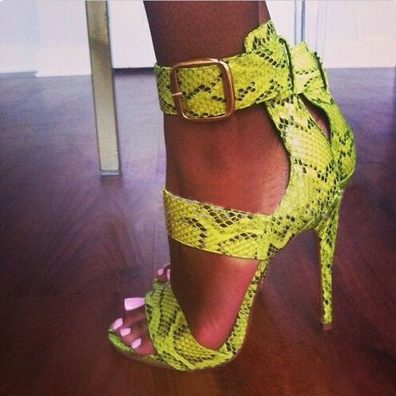 Women's Roma High Stiletto Heels Cur Out Buckle Strappy Sandals Heels Club shoes