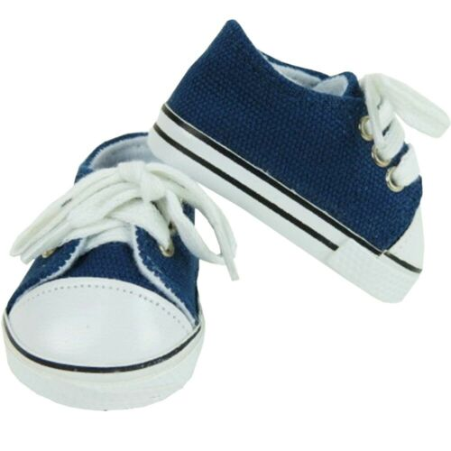 """Navy Blue Canvas Lo-Top Sneakers Tennis Shoes fit 18/"""" American Girl Doll"""