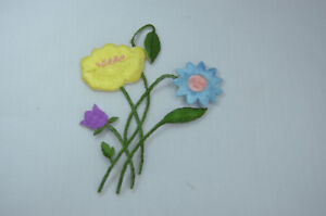 YELLOW-ROSE-BLUE-DAISY-FLOWER-Embroidered-Sew-Iron-On-Cloth-Patch-Badge-APPLIQUE