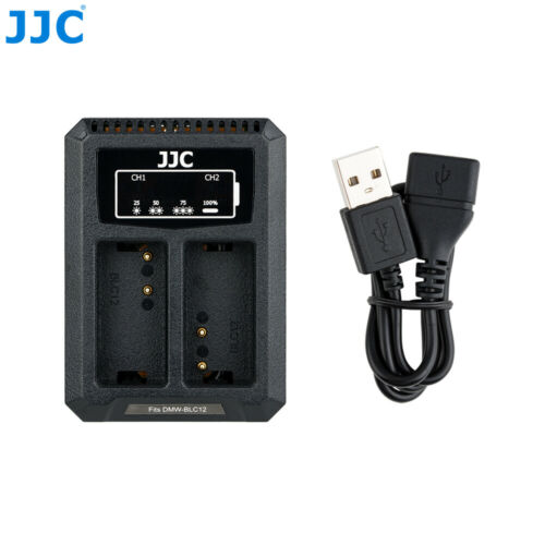 USB doble batería cargador ajusta DMW-BLC12 para Panasonic Lumix G7 G6 GX8 GH2 FZ1000