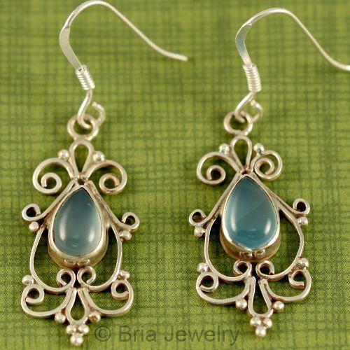 Blue Onyx Genuine 925 Sterling Silver Net Earrings Jewelry New