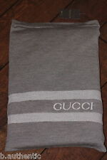 GUCCI Logo Reversible Tricot Throw Blanket Wool Brown Stripes *LIMITED* $1350+!