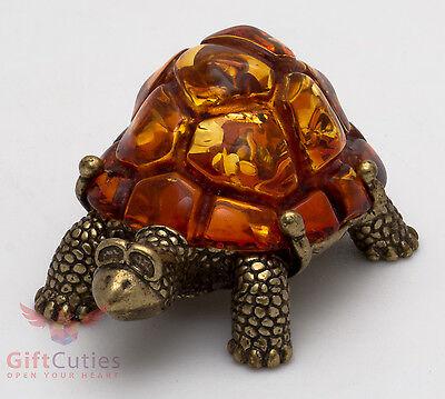 Solid Brass Amber Figurine Yin Yang Feng Shui Tortoise Turtle talisman IronWork
