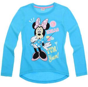 DISNEY-t-shirt-MINNIE-4-6-ou-8-ans-bleu-turquoise-manches-longues-haut-NEUF