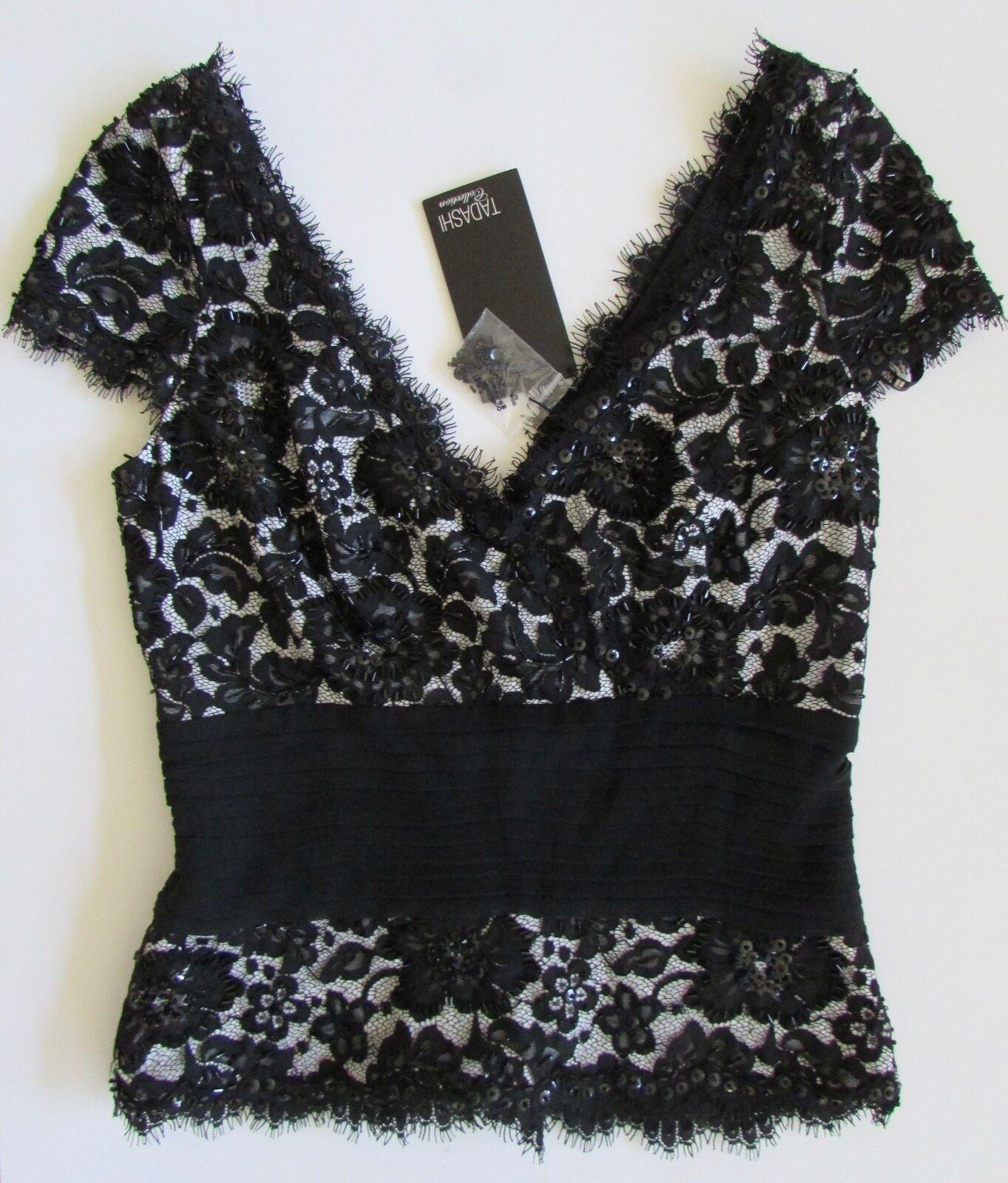 NWT Tadashi Collection damen Formal schwarz Sequin Lace Top Sz 6