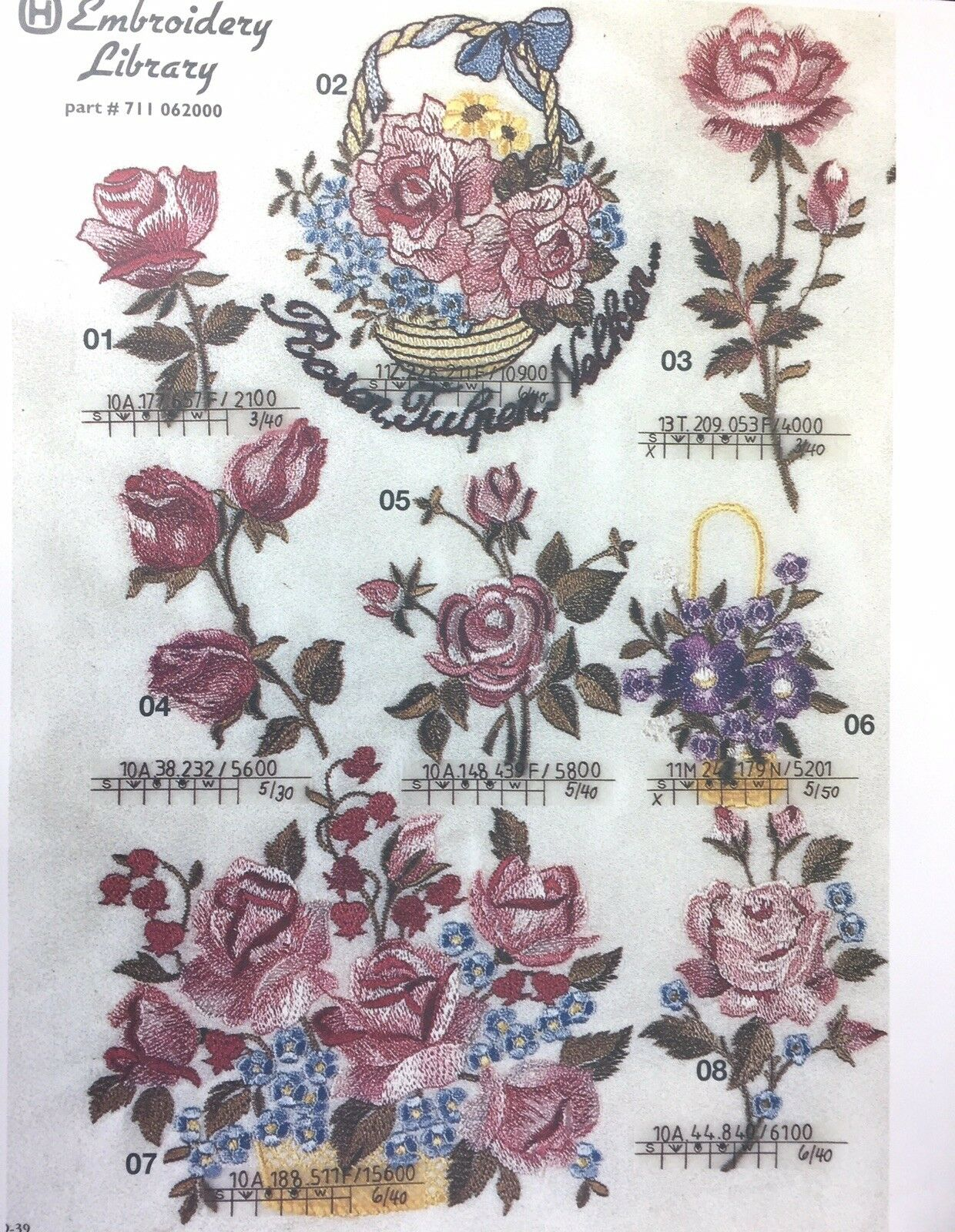 Husqvarna Viking Embroidery Designs Card Roses For Rose Iris Scandinavia 1 For Sale Online