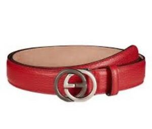 38dc8b1ce2d Gucci Red Men s Leather Belt Interlocking Duel Color GG Buckle Italy ...
