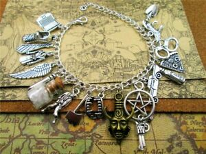 Supernatural-Inspired-Deluxe-Bracelet-Fandom-Charms-Silver-Women-Jewelry-NEW