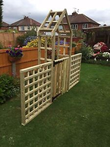 Image Is Loading Wooden Garden Arch With Side Trellis And A
