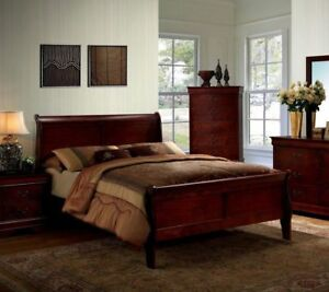 Details about 1pc Full Size Master Bedroom Furniture Set Solid Wood Veneer  Cherry Finish Bed