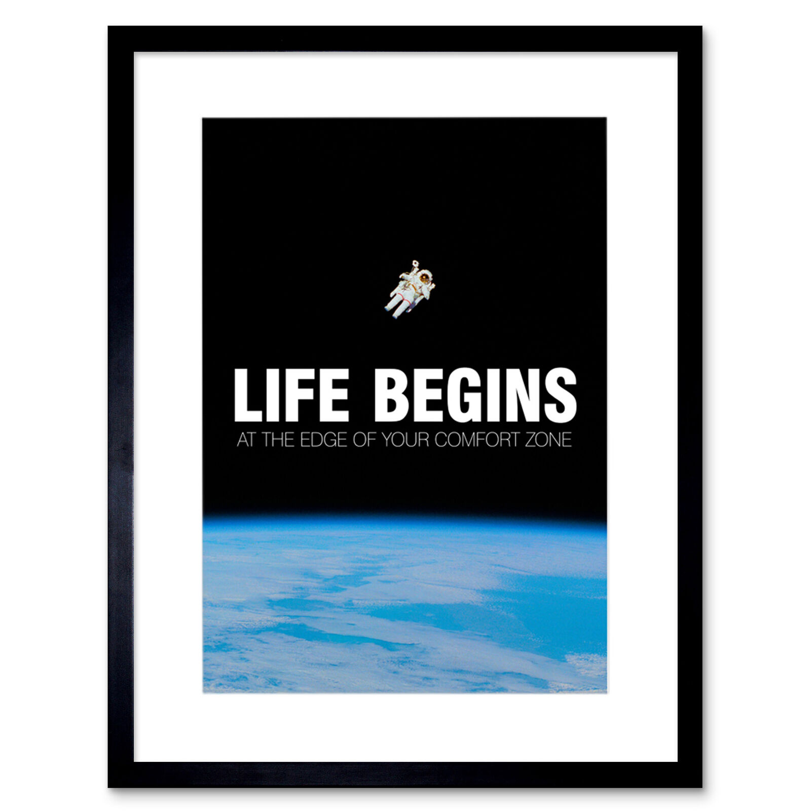 Life Begins Motivational Space 12X16 Inch Framed Art Print
