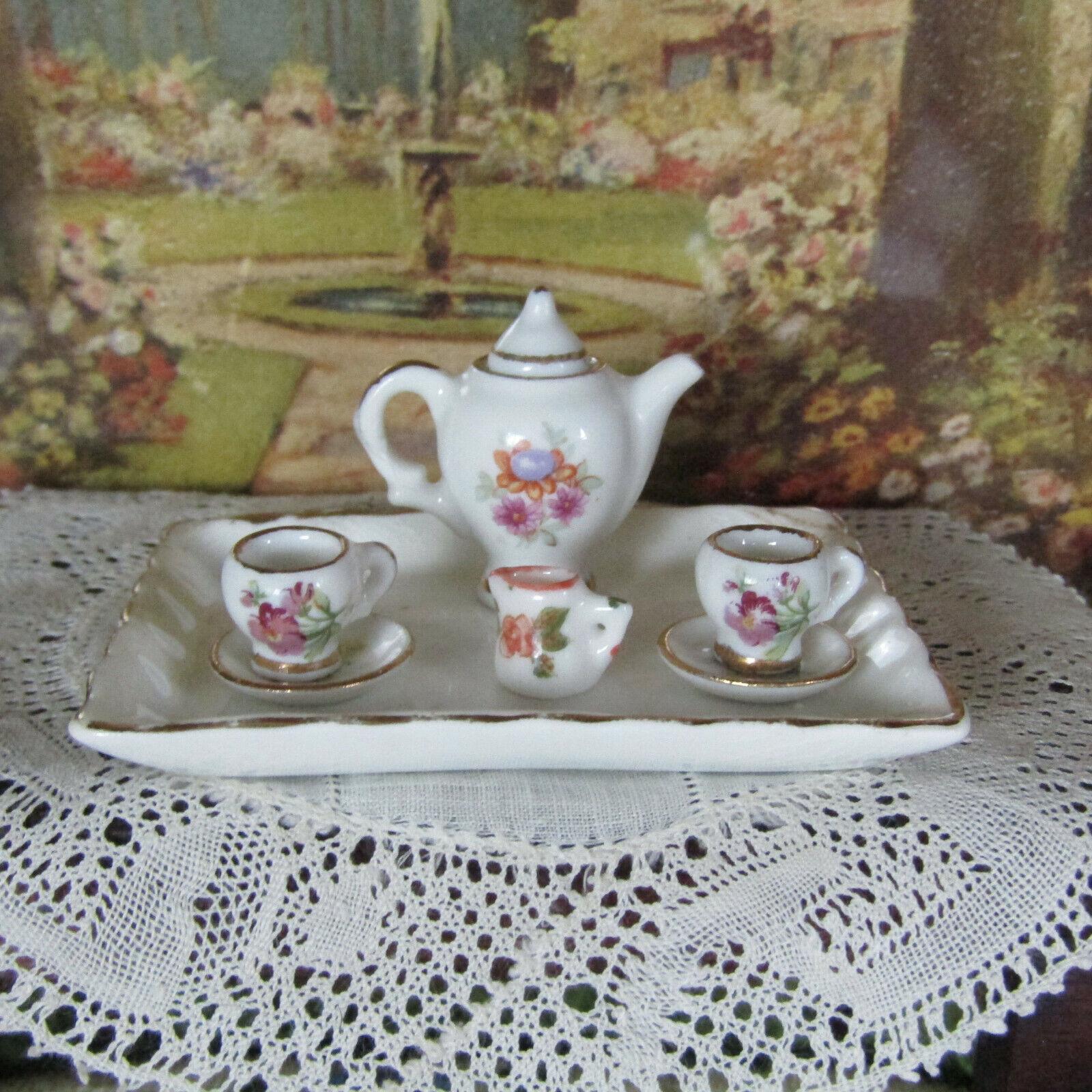 Miniatur Limoges Frankreich Teeset Porzellan Teekanne Platte Puppenhaus Spielzeug Dish