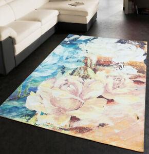 Tappeto-salotto-sala-scendiletto-bagno-antiscivolo-quadro-rose-pittura-mod-SHEBA