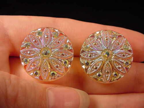 """7//8/"""" Lemon clear Czech glass Austrian crystal post earrings EE-204-P"""