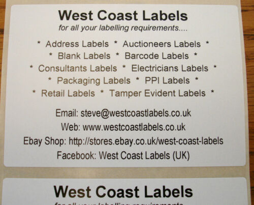 100mm x 70mm White Printed Personalised Sticky Large  Address Labels