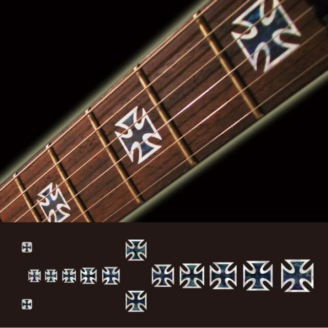 Iron Cross (Black Pearl) Fret Markers Inlay Sticker Decal Guitar