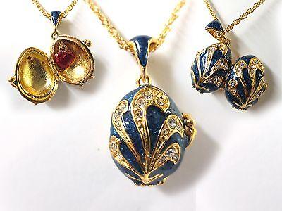 "Blue Fan Easter Egg Pendant W/ 18"" Chain heart inside. faberge inspired"