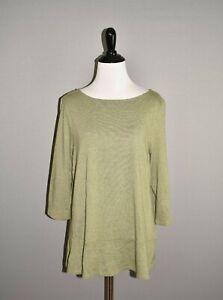 J-JILL-68-Green-3-4-Sleeve-Knit-Top-Peplum-Hem-Medium
