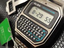 NEW W/TAGS VINTAGE ALBA SEIKO SLEEK WRIST CALCULATOR ALARM WATCH Y739-5000 NOS