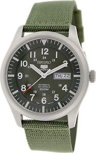 Seiko 5 Men's SNZG09K1 Sport Automatic Khaki Green Canvas Watch NEW