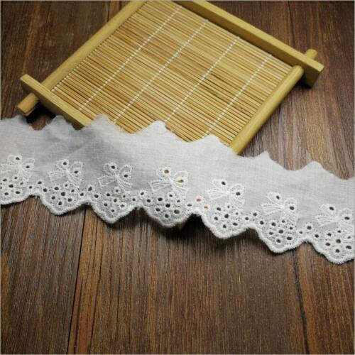 4 Yards cotton Lace embroidery Bowknot decoration Sewing clothes Accessories