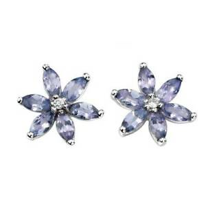 9ct-White-Gold-Earrings-Tanzanite-and-Diamond-Cluster-Stud-Earrings-GE803M