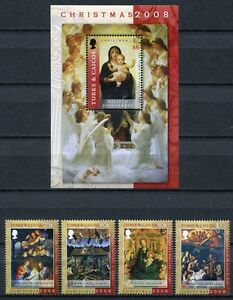 Turks & Caicos 2008 NoËl Tableaux Christmas 1882-1885 + Bloc 238 ** Neuf Sans Charnière